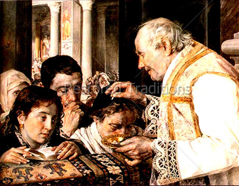 Faithful Receiving Holy Eucharist at Mass