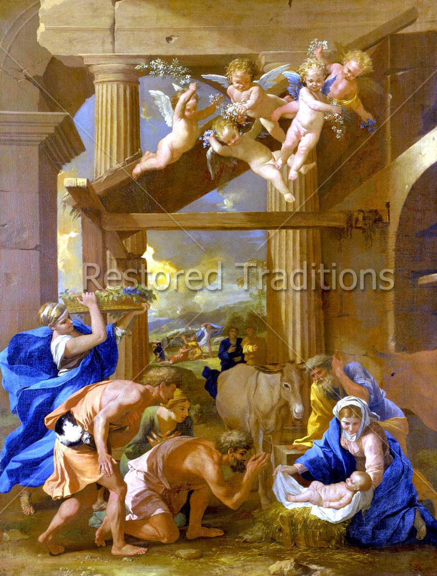 Shepherds and Angels Adore the Child Christ