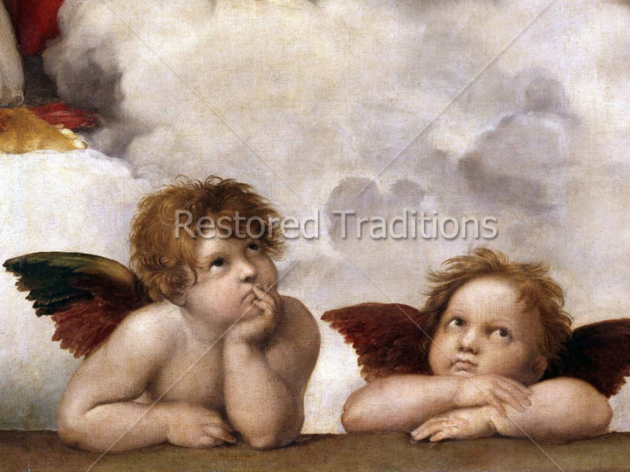 Two Cherub Angels From Sistine Chapel