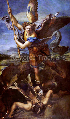 Archangel Michael Crushing Devil
