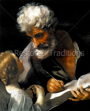 Saint Matthew Writing Gospel