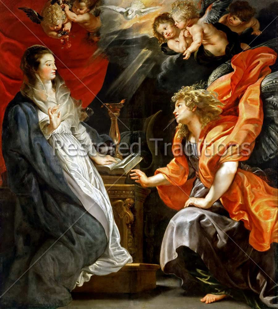 high res art annunciation of virgin mary by artist peter paul rubens