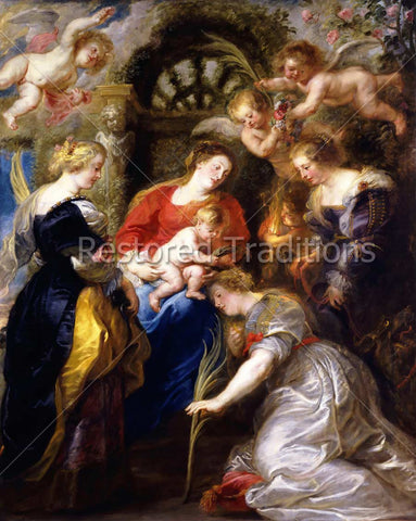 Baby Jesus Crowns Saint Catherine