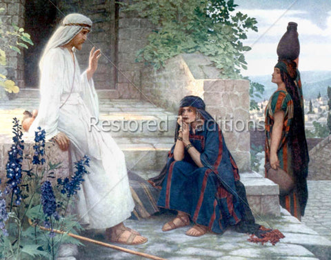 Jesus Talks to Martha and Mary