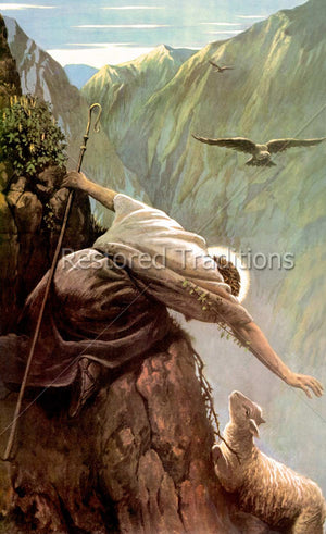 Savior reaching to lost sheep on mountain