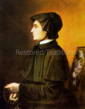 Catholic nun seated holding rosary
