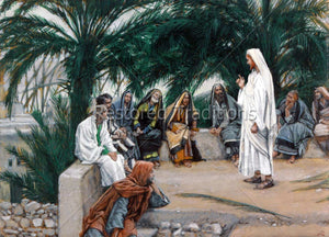Christ preaching near palm trees