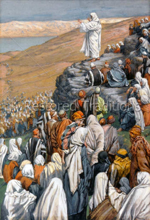 Christ teaching on hill