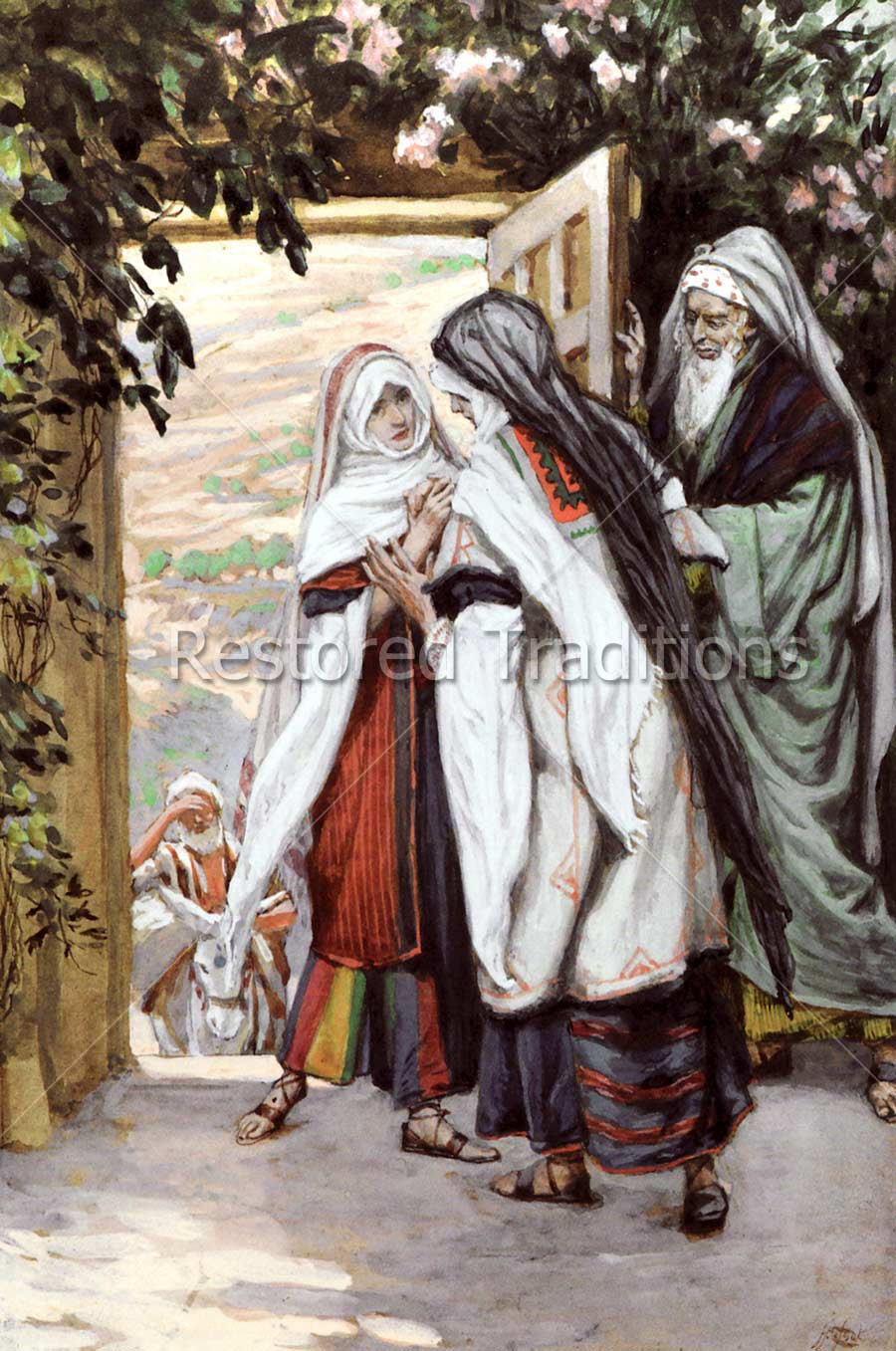 Virgin Mary Visits Cousin Elizabeth By J Tissot Royalty Free Image