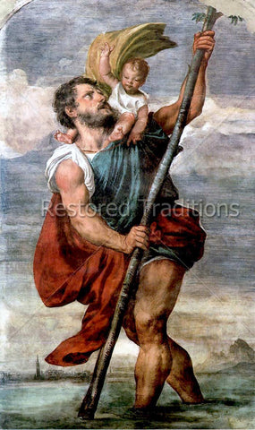 Carrying Child Jesus Across Stream