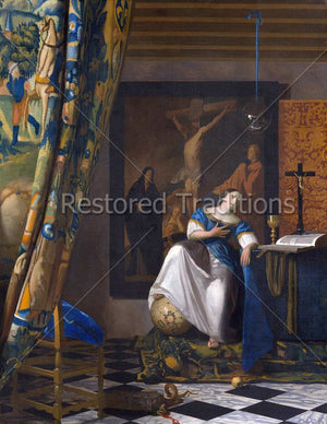 Woman sitting and looking a crucifix