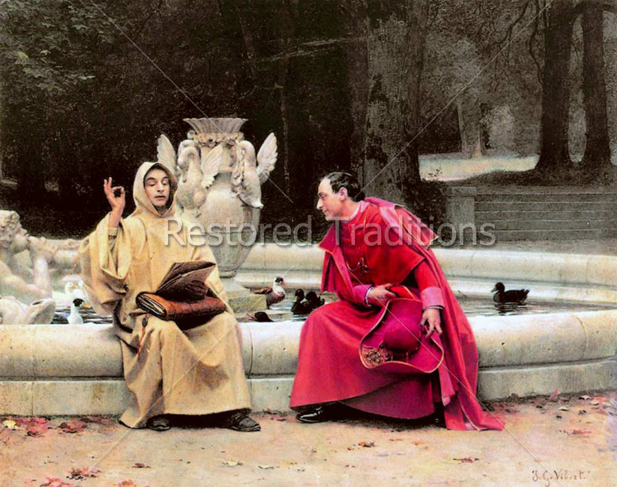 Monk Debating With a Cardinal