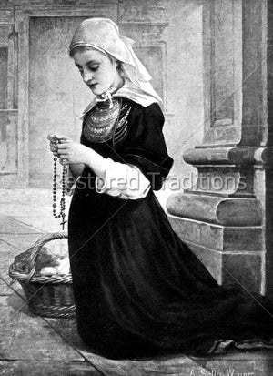 Girl Prays Holy Rosary