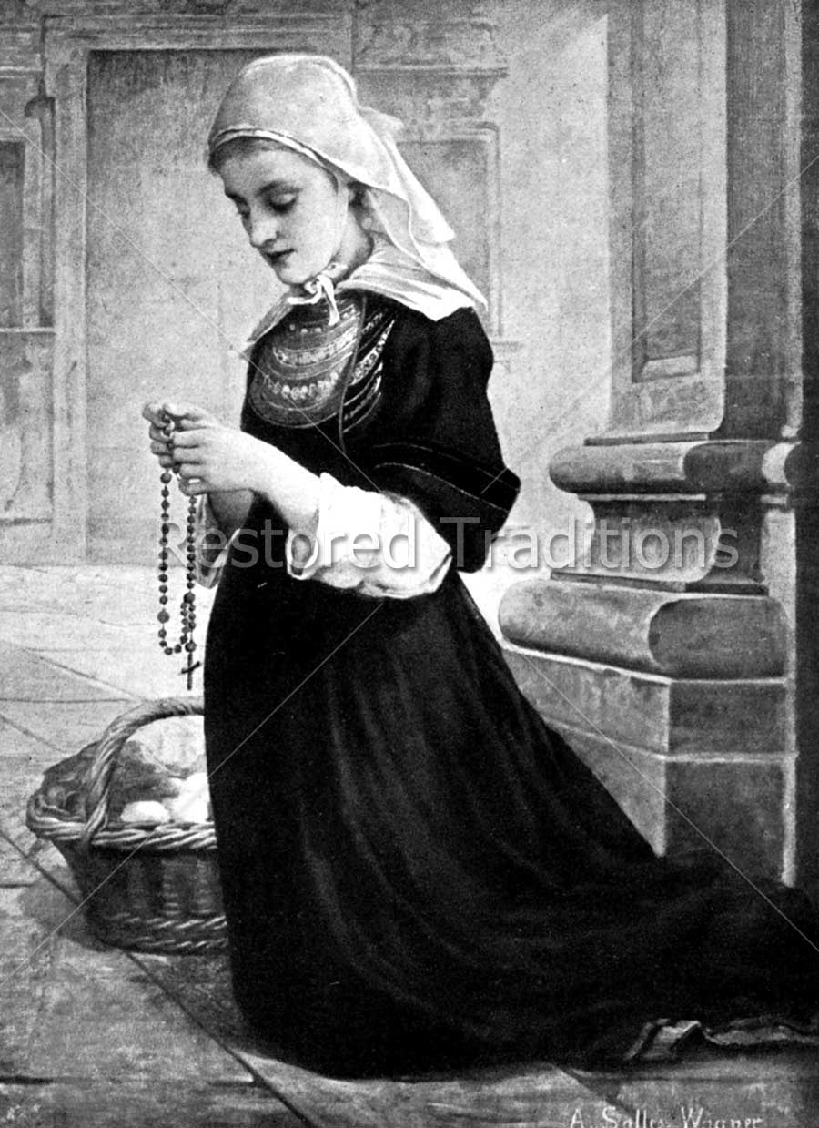 Woman Prays Holy Rosary