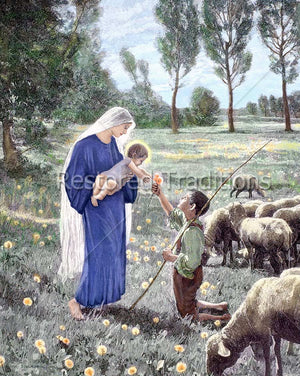 Virgin Mary With Jesus and Shepherd Boy