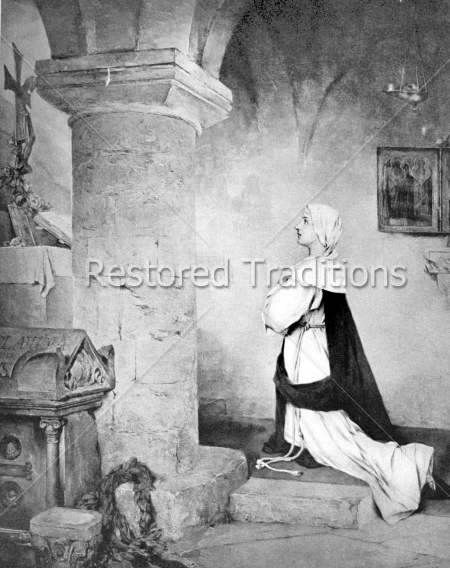 black and white picture of lady praying