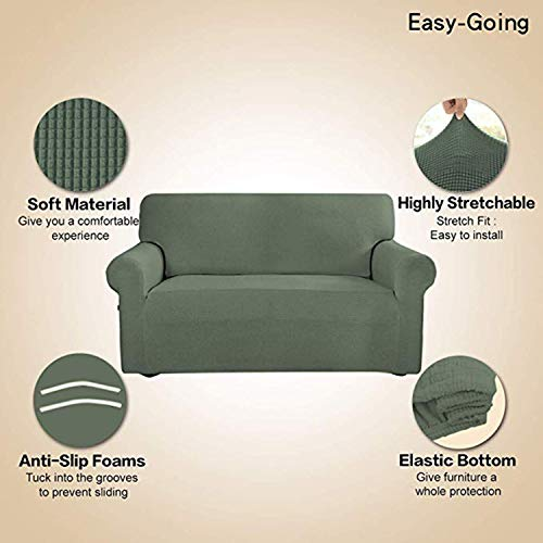 Stretch Sofa Slipcover Couch Sofa Cover Furniture Protector Soft with Elastic Bottom for Kids Spandex Jacquard Fabric Small Checks(Sofa,Greyish Green)