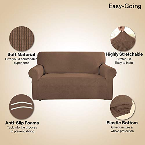Stretch Sofa Slipcover Couch Sofa Cover Furniture Protector Soft with Elastic Bottom for Kids Spandex Jacquard Fabric Small Checks(Chair,Brown)