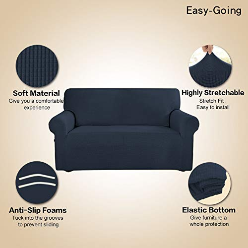 Stretch Sofa Slipcover Couch Sofa Cover Furniture Protector Soft with Elastic Bottom for Kids Spandex Jacquard Fabric Small Checks(Chair,Dark Blue)