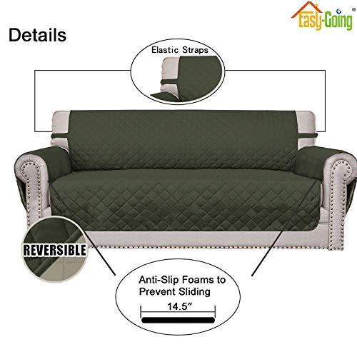 Sofa Slipcover Reversible Sofa Cover Furniture Protector Couch Cover with Elastic Straps for Pets Kids Children Dog Cat (XX Large, Army Green/Beige)