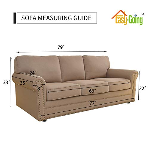 Stretch Sofa Slipcover 1-Piece Sofa Cover Furniture Protector Couch Soft with Elastic Bottom for Kids, Spandex Jacquard Fabric Small Checks(Sofa, Taupe)