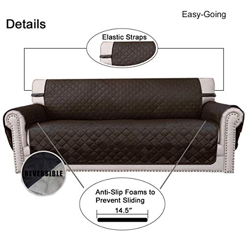 Sofa Slipcover Reversible Sofa Cover Furniture Protector Couch Cover with Elastic Straps for Pets Kids Children Dog Cat(Oversized Sofa,Chocolate/Beige)