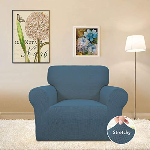 Stretch Sofa Slipcover Couch Sofa Cover Furniture Protector Soft with Elastic Bottom for Kids Spandex Jacquard Fabric Small Checks (Chair, Bluestone)