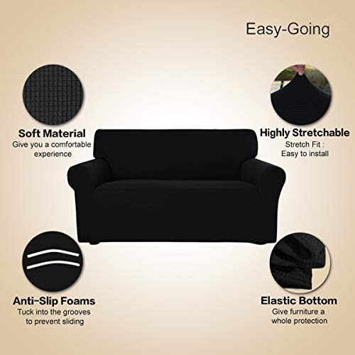 Stretch Sofa Slipcover Couch Sofa Cover Furniture Protector Soft with Elastic Bottom for Kids Spandex Jacquard Fabric Small Checks(Sofa,Black)