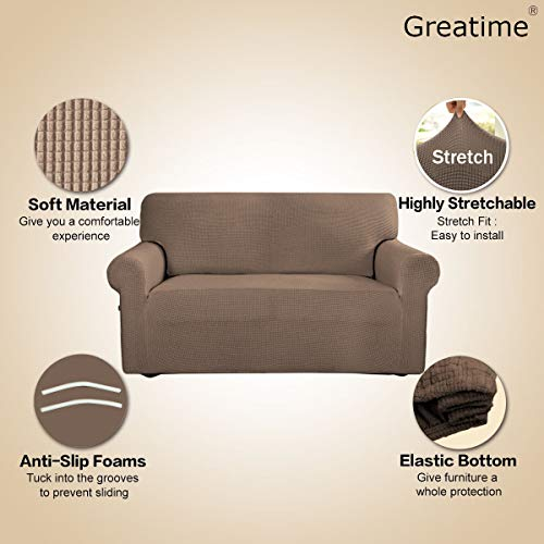 Stretch Sofa Slipcover Couch Sofa Cover Furniture Protector Soft with Elastic Bottom for Kids Spandex Jacquard Fabric Small Checks(Chair,Camel)