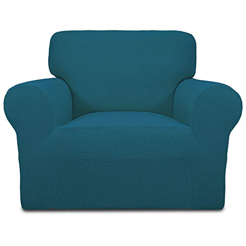Stretch Sofa Slipcover Couch Sofa Cover Furniture Protector Soft with Elastic Bottom for Kids Spandex Jacquard Fabric Small Checks(Chair,Peacock Blue)