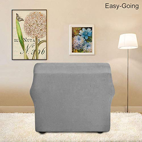 Stretch Sofa Slipcover Couch Sofa Cover Furniture Protector Soft with Elastic Bottom for Kids Spandex Jacquard Fabric Small Checks(Chair,Light Gray)