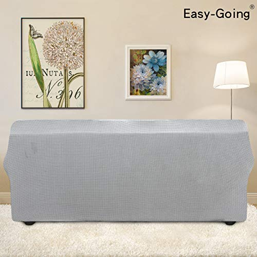 Stretch Sofa Slipcover 1-Piece Sofa Cover Furniture Protector Couch Soft with Elastic Bottom for Kids, Spandex Jacquard Fabric Small Checks(Sofa, Silver Gray)