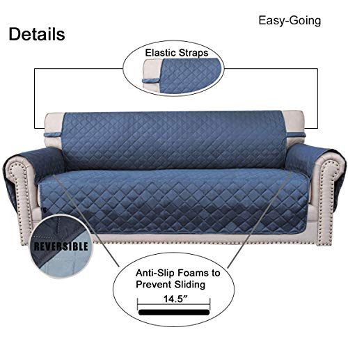 Sofa Slipcover Reversible Sofa Cover Furniture Protector Couch Cover with Elastic Straps for Pets Kids Children Dog Cat(Oversized Sofa,Dark Blue/Light Blue)