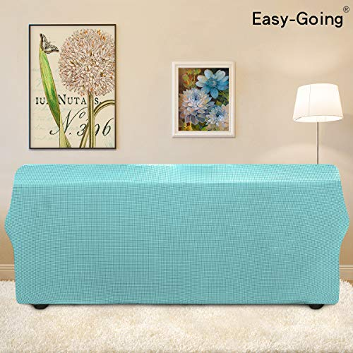 Stretch Sofa Slipcover Couch Sofa Cover Furniture Protector Soft with Elastic Bottom for Kids Spandex Jacquard Fabric Small Checks(Sofa,Light Green)