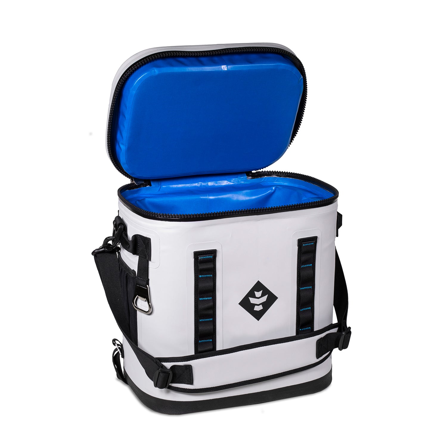 Light Grey Waterproof Leakproof Soft Insulated Cooler Backpack Blue Interior