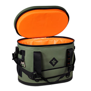 Green Waterproof Leakproof Soft Insulated Cooler Tote Orange Interior