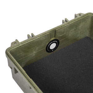 Green Fiberglass Reinforced Hard Case Foam Insert Metal Nameplate Charcoal Filter