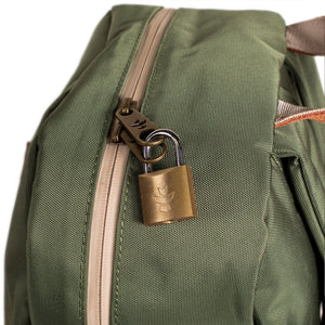 Green Nylon Smell Proof Water Resistant Backpack Bag Lock