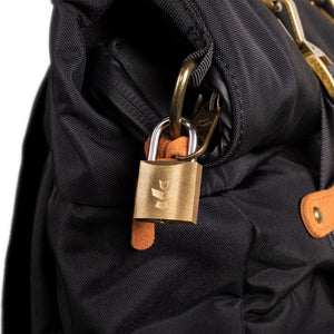 Black Nylon Smell Proof Water Resistant Rolltop Backpack Bag Lock