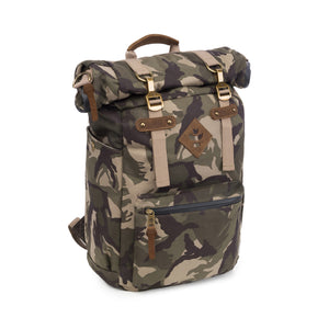 Camo Brown Canvas Smell Proof Water Resistant Rolltop Backpack Bag