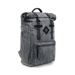 Dark Striped Grey Nylon Smell Proof Water Resistant Rolltop Backpack Bag