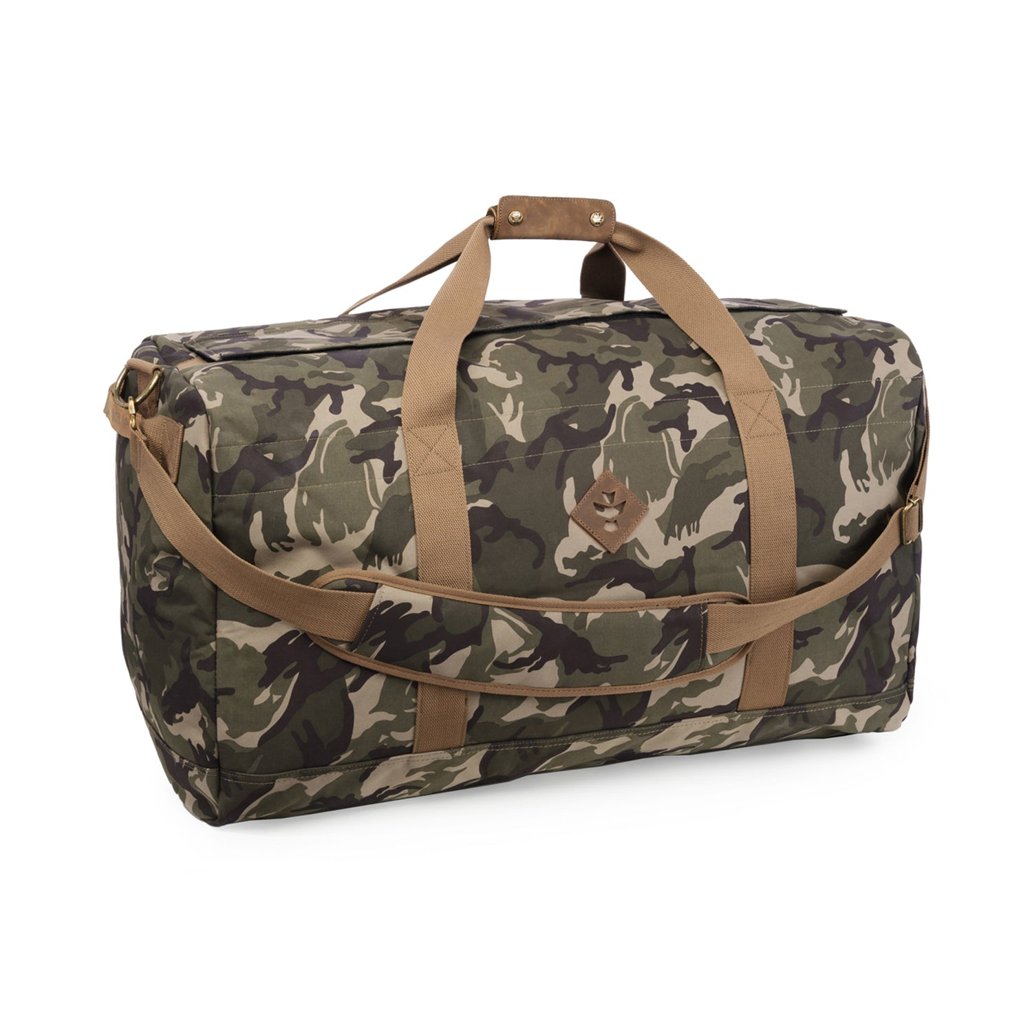 Camo Brown Canvas Smell Proof Water Resistant Large Duffle Bag