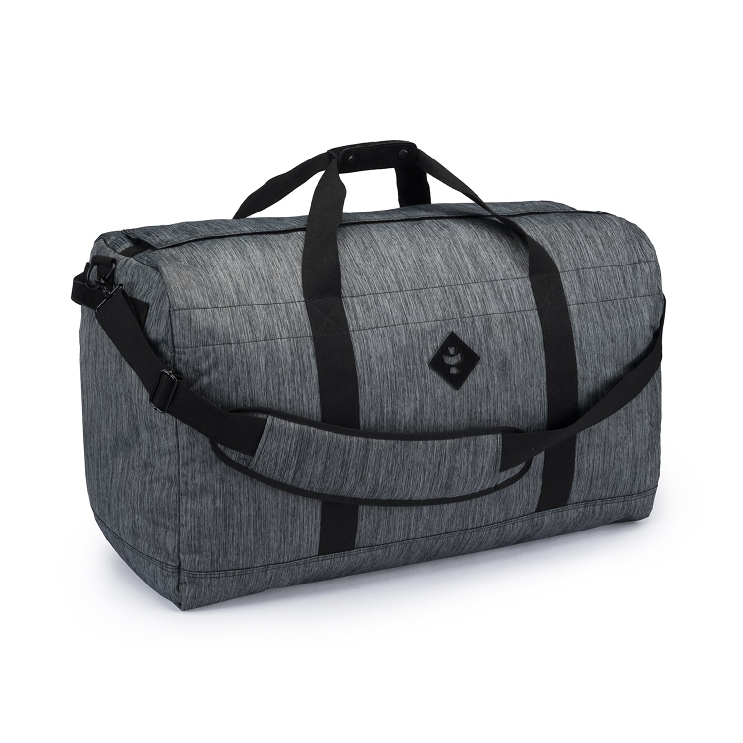 Dark Striped Grey Nylon Smell Proof Water Resistant Large Duffle Bag