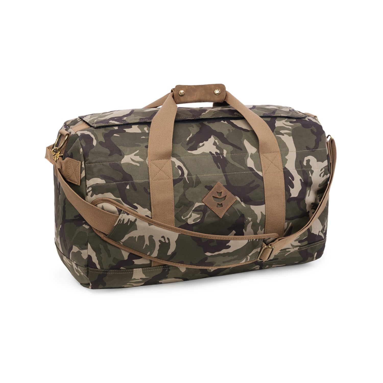 Camo Brown Canvas Smell Proof Water Resistant Medium Duffle Bag