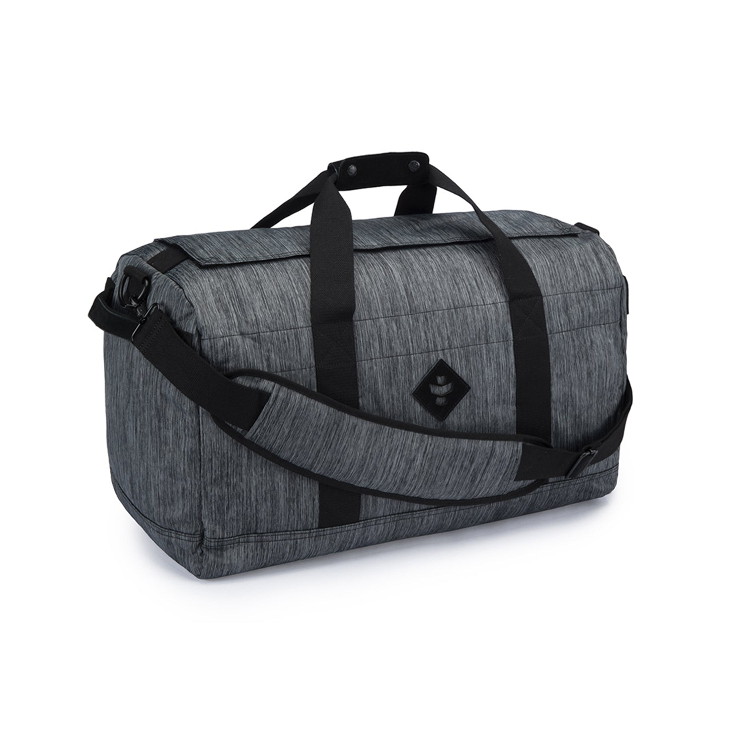 Dark Striped Grey Nylon Smell Proof Water Resistant Medium Duffle Bag
