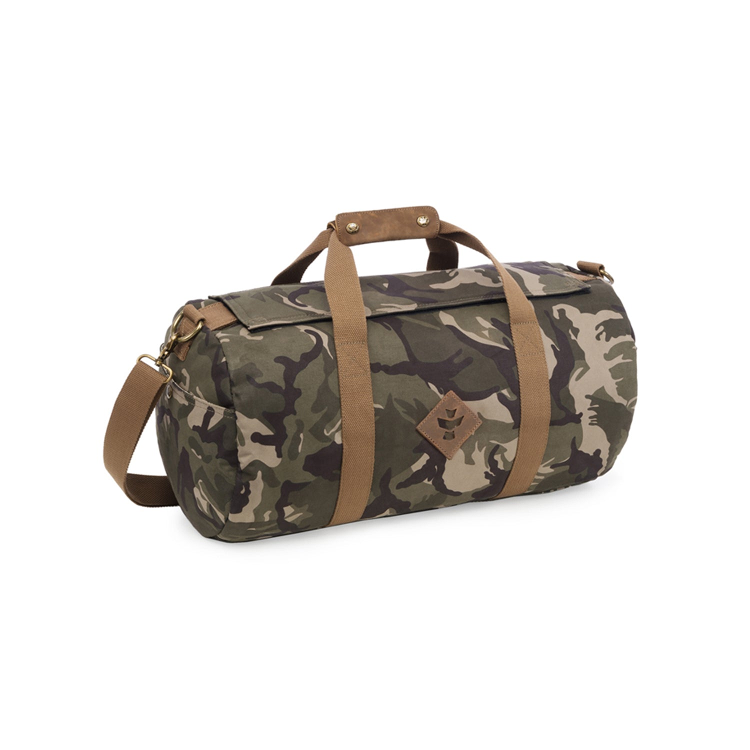 Camo Brown Canvas Smell Proof Water Resistant Small Duffle Bag