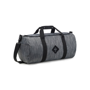Dark Striped Grey Nylon Smell Proof Water Resistant Small Duffle Bag