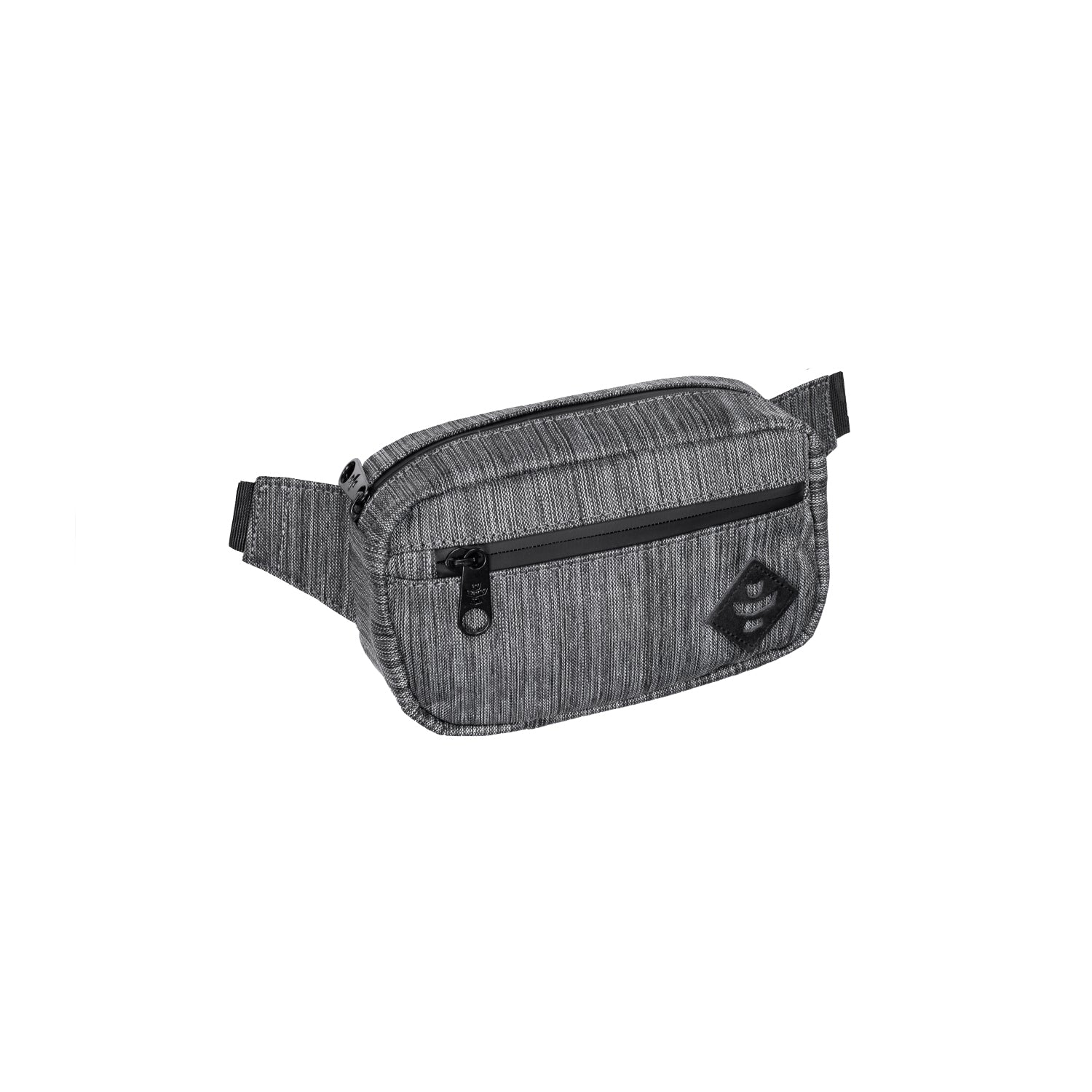 Dark Striped Grey Nylon Smell Proof Water Resistant Crossbody Bag