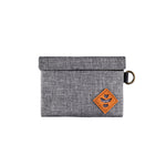Crosshatch Grey Nylon Smell Proof Water Resistant Small Velcro Bank Bag