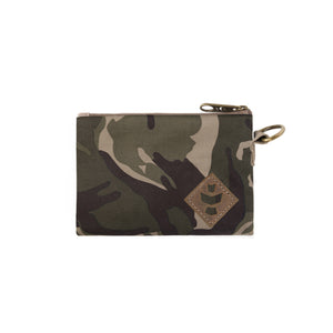 Camo Brown Canvas Smell Proof Water Resistant Small Zipper Bank Bag